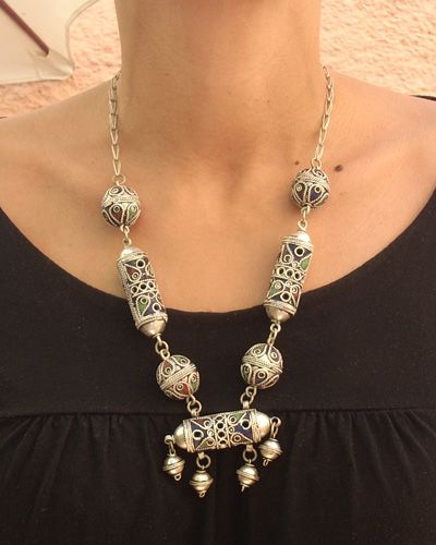 Bijoux Argent Homme Maroc : Argent silver maroc bijoux pouf en cuir