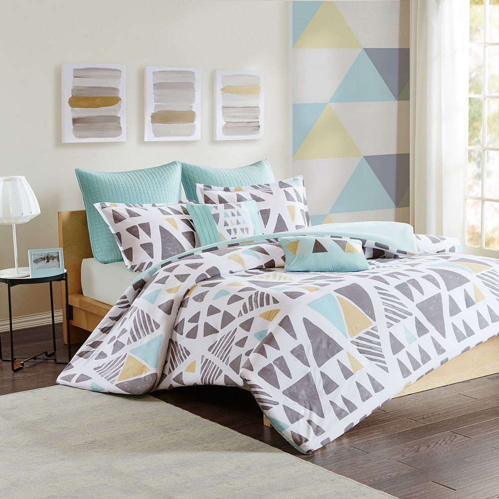 Luxury White Bedding with Blue Accents