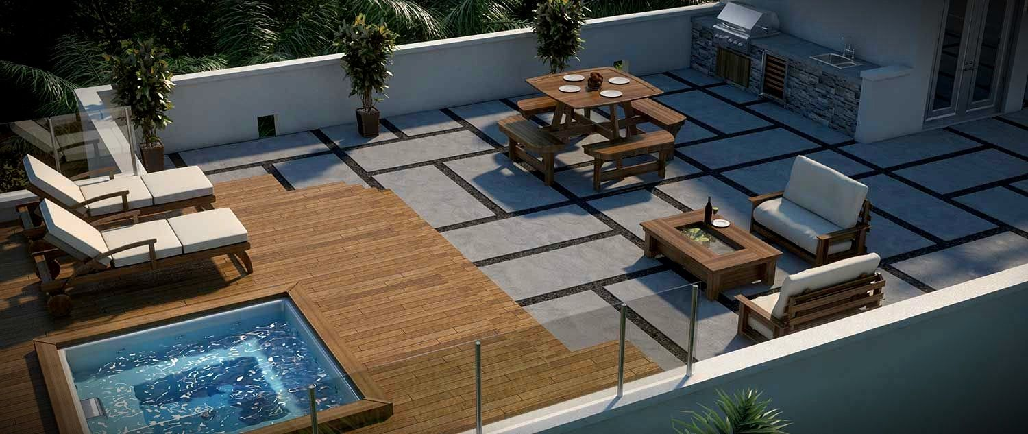 Concrete Roof Top Deck With Jacuzzi Google Search Rooftop Patio Rooftop Design Rooftop Terrace Design
