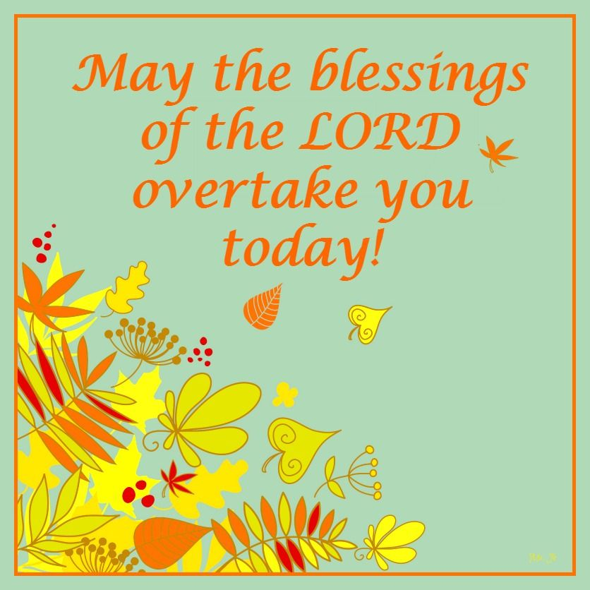 May the blessings of the LORD overtake you today!   Blessed, The blessings, Inspirational thoughts
