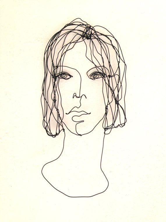 Wire wall art - lovely woman portrait - metal sculpture - gift ideas ...
