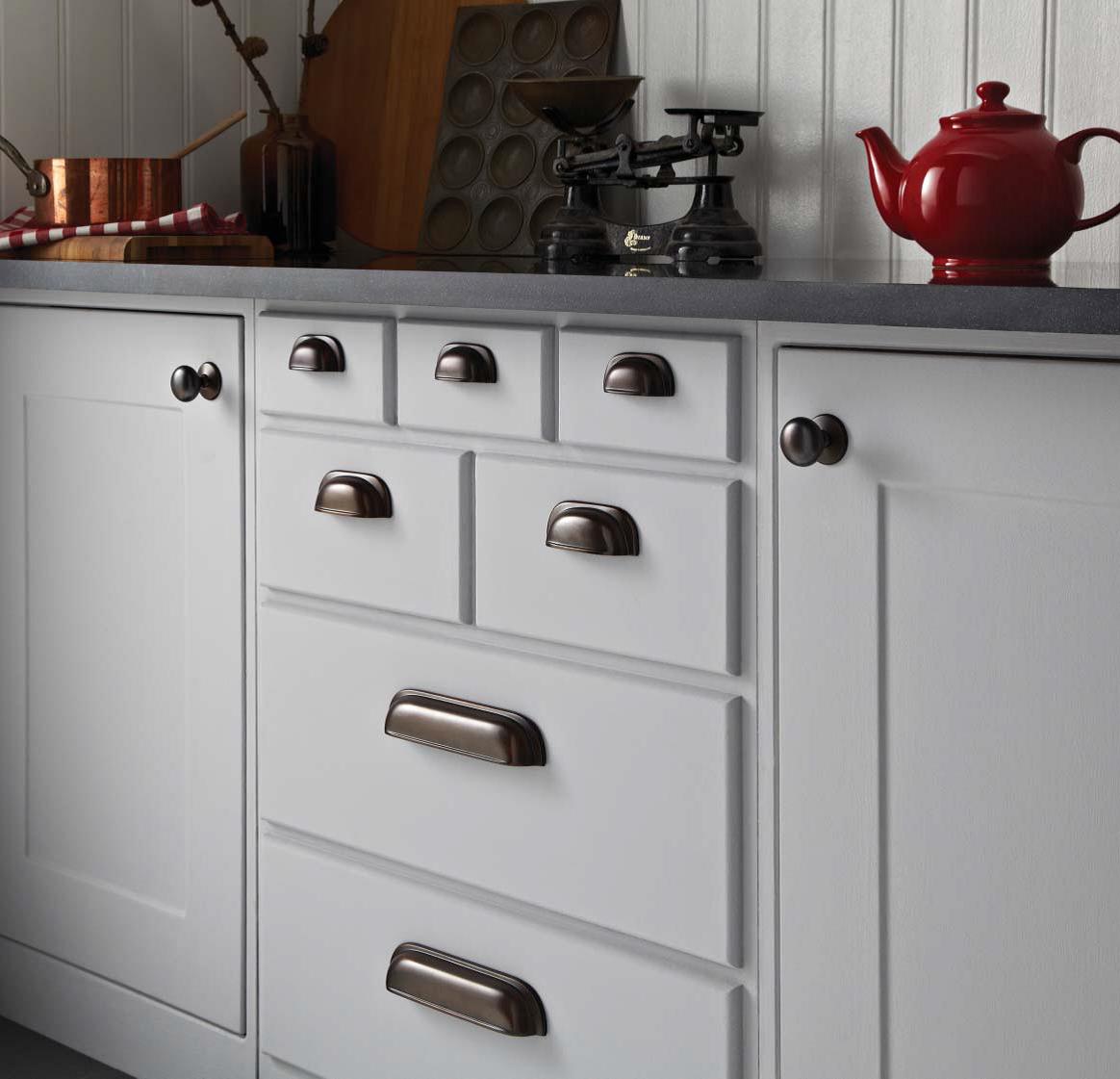 Timeless Classic Kitchen Cupboard Door Handles In Rubbed