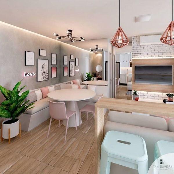 """Photo of Finanzas y bienes raíces • CMA en Instagram: """"¡Un apartamento con voces alemanas, cocina integrada y sala de estar que lo inspirará! 💗 a través de @yanoliveira_interiores """""""