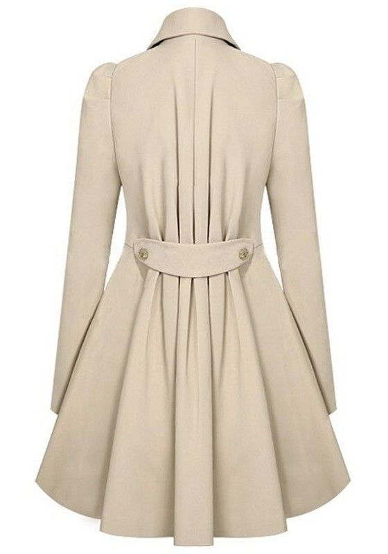 Apricot Plain Double Breasted Military Peplum Peacoat Trench Coat