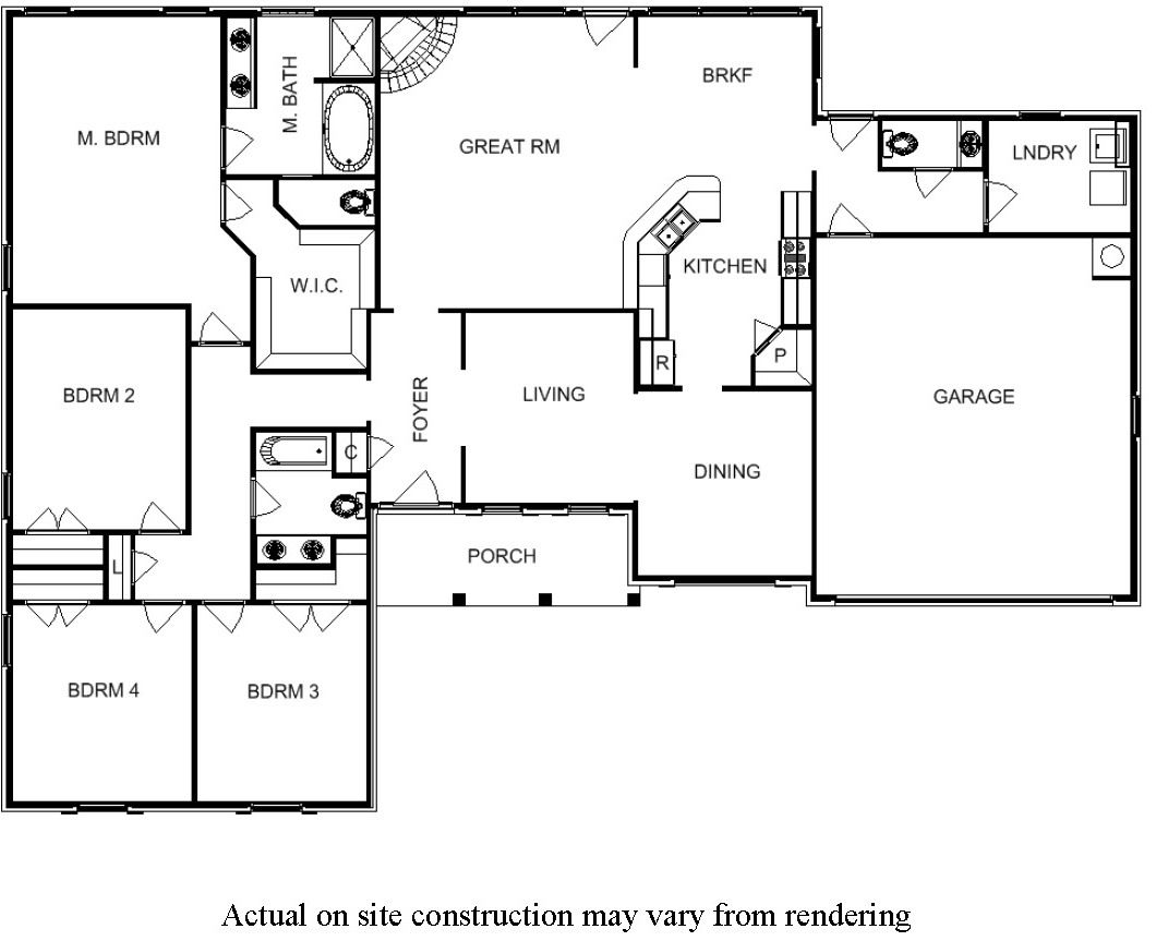 4 bedroom floor plans for one story house bill - Single story four bedroom house plans ...