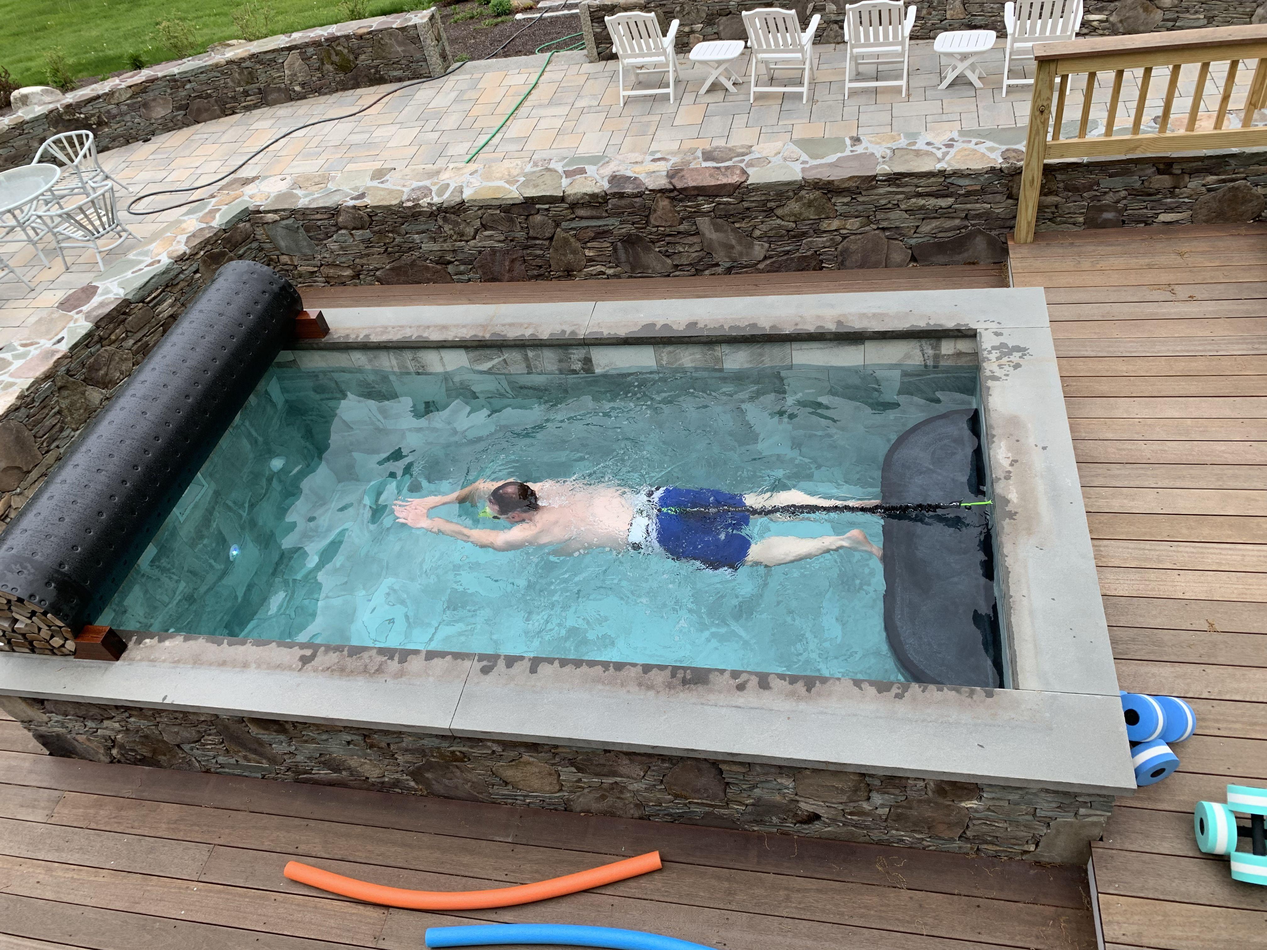 Static Swim In A Soake Pool Diy Swimming Pool Small Pools Small Backyard Pools