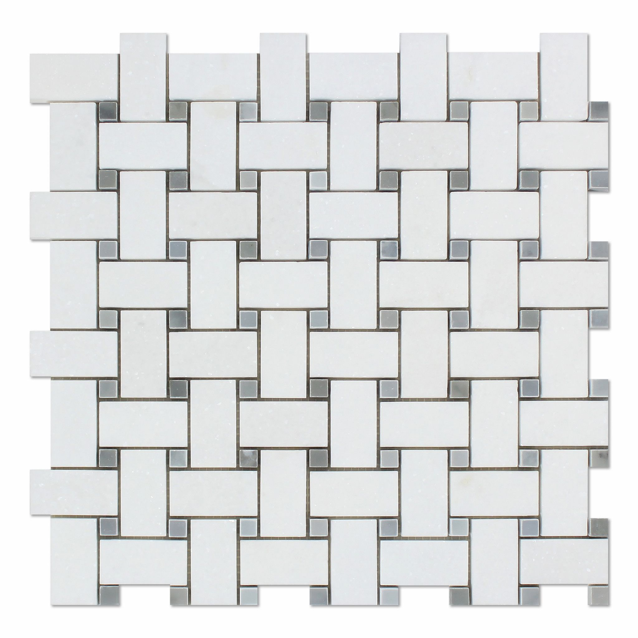 Thassos White Marble Honed Basketweave Mosaic Tile w/ Blue-Gray Dots ...