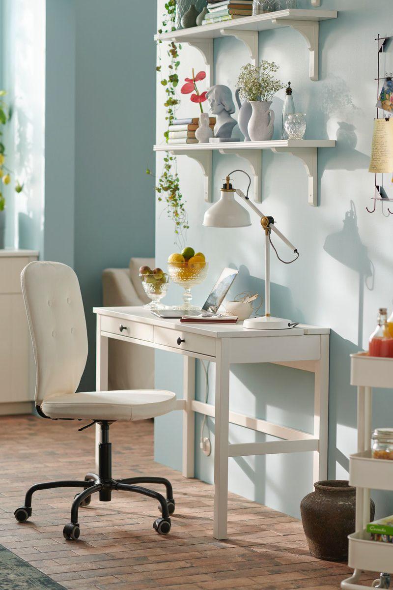 Hemnes Schreibtisch Mit 2 Schubladen Weiss Gebeizt Ikea