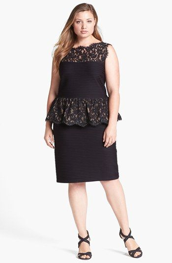 Tadashi Shoji Lace Jersey Peplum Dress Plus Size Available At