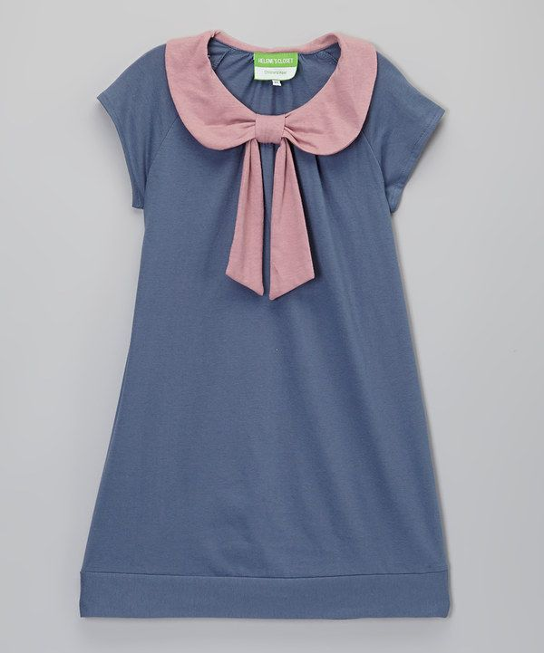 Look at this Blue & Pink Bow Collar Top - Toddler & Girls on #zulily today!