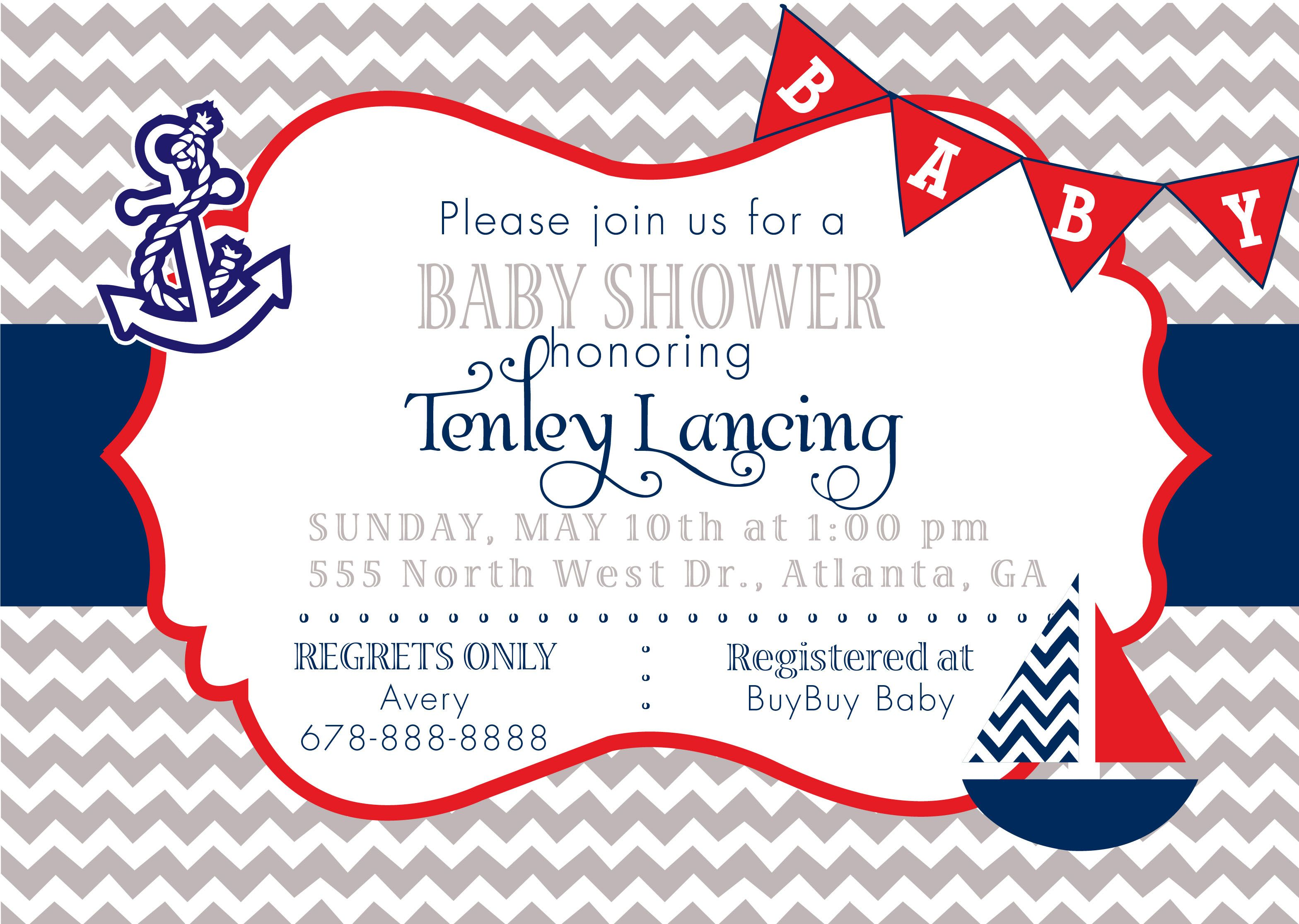 Custom Nautical Baby Shower Invitation Chevron Gray, Red And Navy