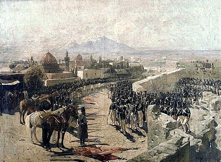 Seizure of Yerevan fortress by Russian troops in 1827 during the Russo-Persian War (1826-1828) by Franz Roubaud.