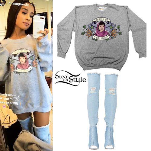 Ariana Grande Malala Sweatshirt Denim Boots | Rihanna | Pinterest | Denim boots Ariana grande ...