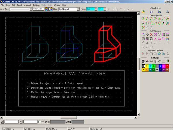 Cadstd Un Programa Gratuito De Dibujo Tecnico Tecnicas De Dibujo Perspectiva Caballera Perspectiva