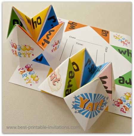 Origami Invitations Fun Chatterbox Or Cootie Catcher Invites Kids