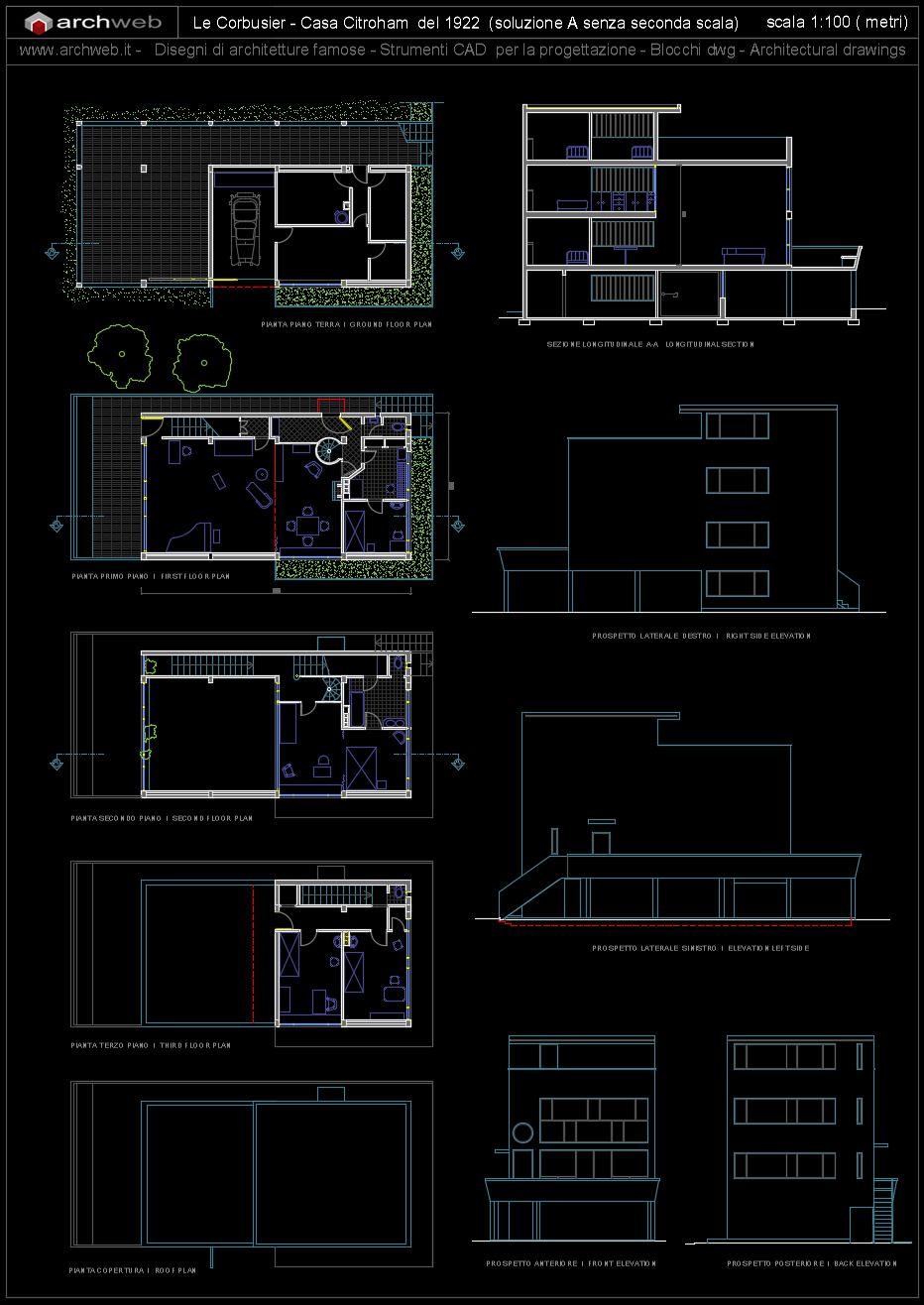 Maison Citröhan 1922 Le Corbusier Archweb Autocad Diagrams