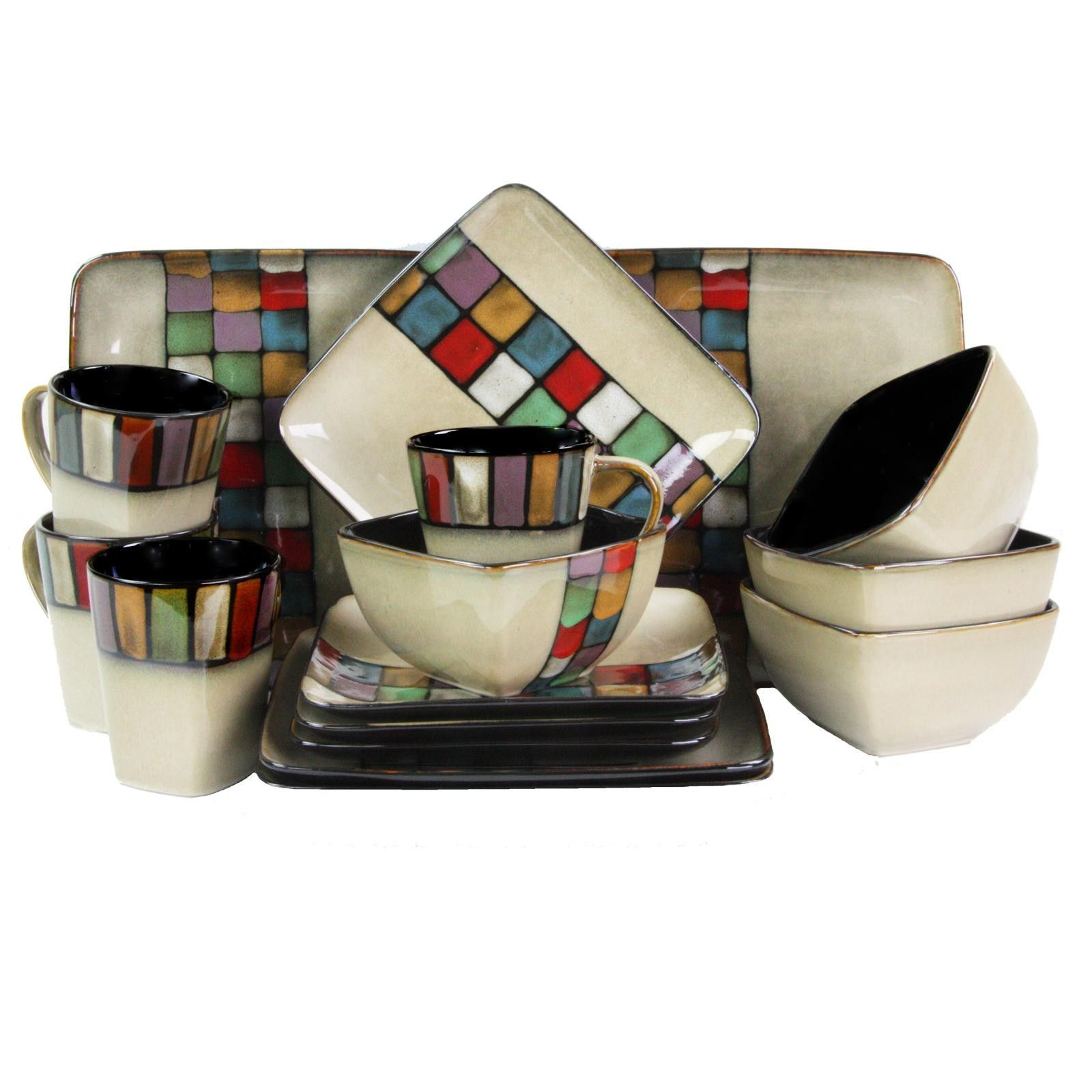 Elama Color Melange 16 Piece Stoneware Dinnerware Set with Complete Service for 4  sc 1 st  Pinterest & Elama Color Melange 16 Piece Stoneware Dinnerware Set with Complete ...