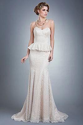 Britt Bridal Gown Oz Re 058 Full Length Peplum Wedding Dress
