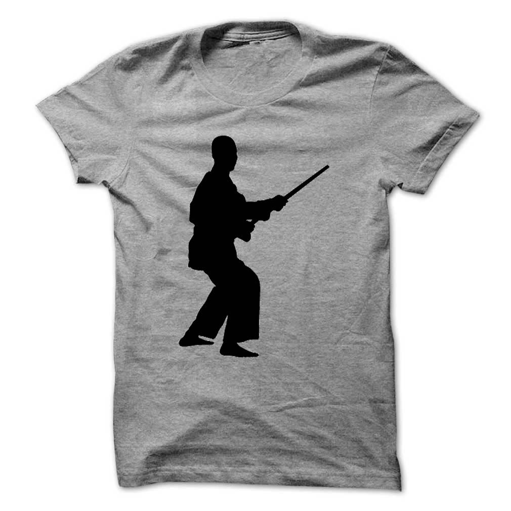 Karate player with stick personalised hobbies tshirts and hoodies