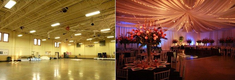Love the uplighting and draping in this before and after | Wedding ...