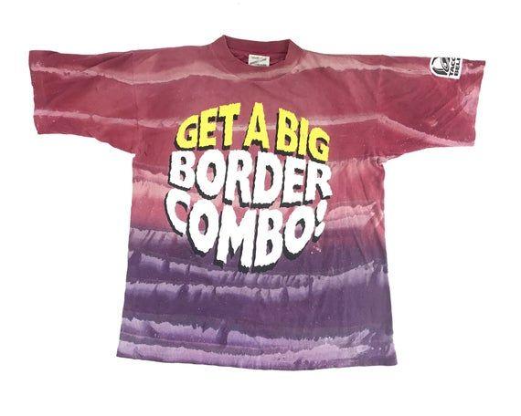 Vintage Taco Bell Shirt Tie Dye Big Border Combo 90s All