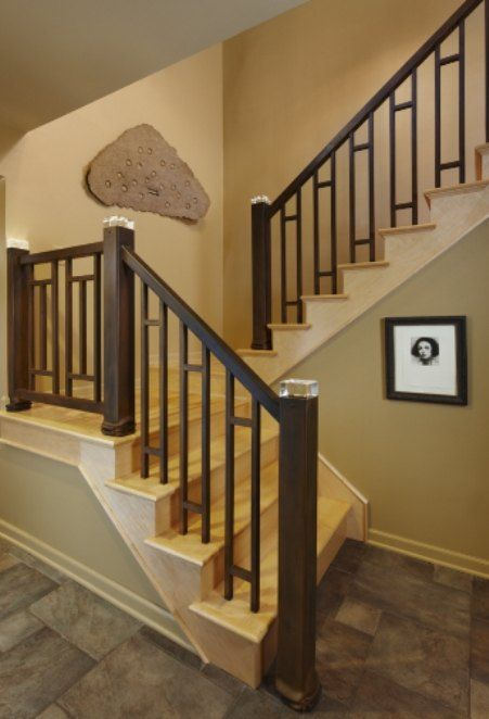 Custom Made Led Stair Rail By Stefani Co Custommade Com | Mission Style Hand Railings | Indoor | Bungalow | Front Porch | Art Craft | Hand