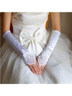 Fabulous Finger Less Long Satin Wedding Glove With Lace Applique