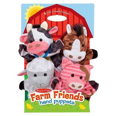 Melissa & Doug Farm Friends Hand Puppets (Set of 4) - Cow, Horse, Sheep, and Pig #handpuppets