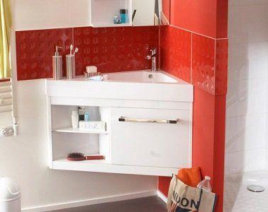 Un plan vasque d angle avec mini placard  étag¨res de rangement