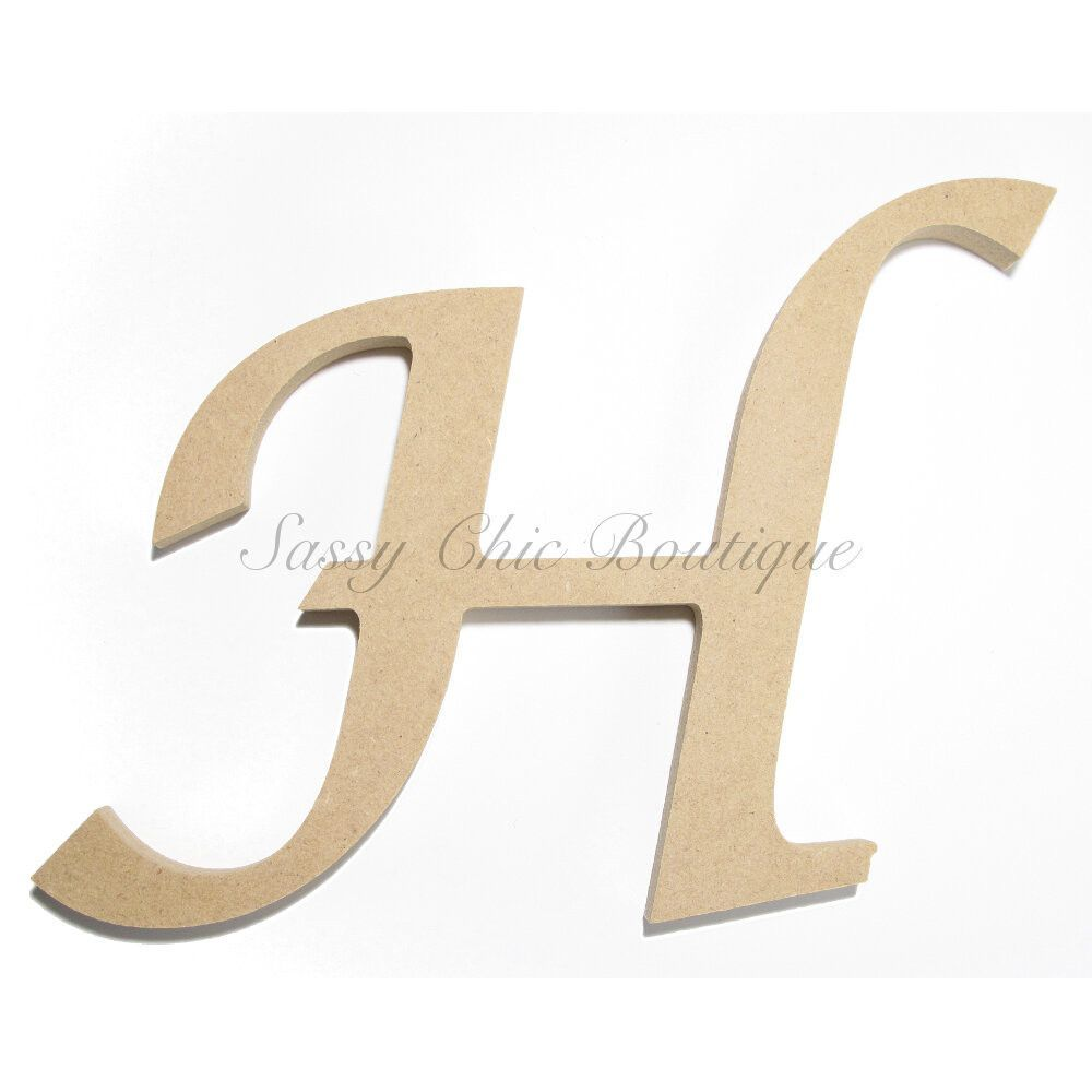 unfinished wooden letter uppercase h lucida calligraphy font