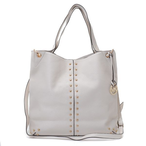 """Michael Kors Uptown Astor Large Shoulder Tote Dove White Leather Products Description * Dove White leather with golden studs. * Golden hardware. * Top handles. * Shoulder strap with rings and chain detail. * Snap closure. * Hanging logo charm. * Stud detail on front and sides. * 12""""H x 16""""W x 3""""D."""