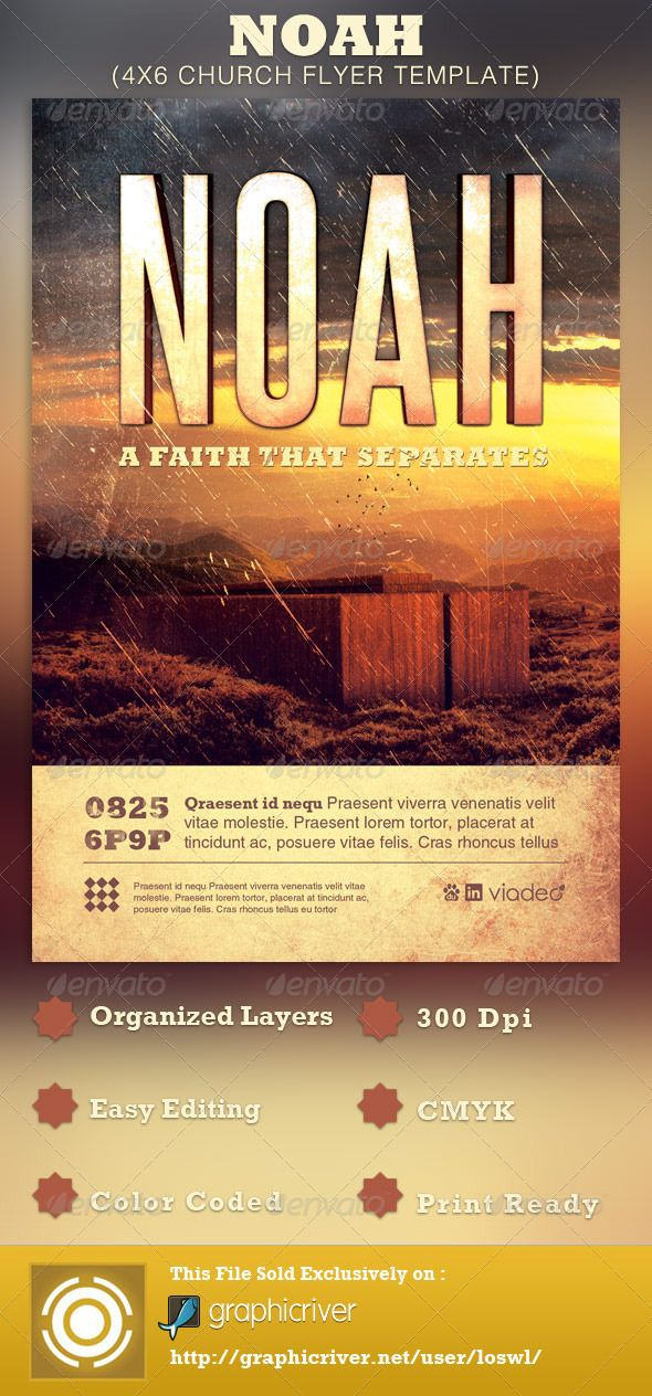 Noah Church Flyer Template — Photoshop PSD #life in the now #flyer ...