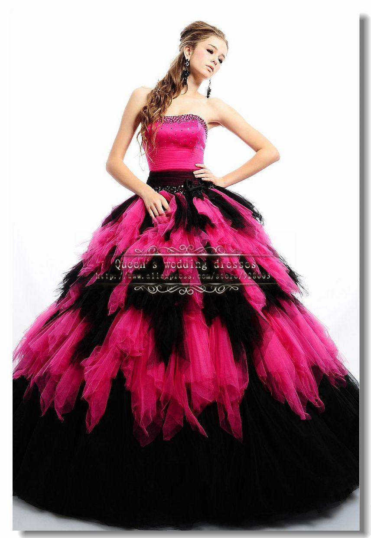 56c5db6c3 vestidos de 15 años negro con rojo 2014 New Arrival rose font b ...