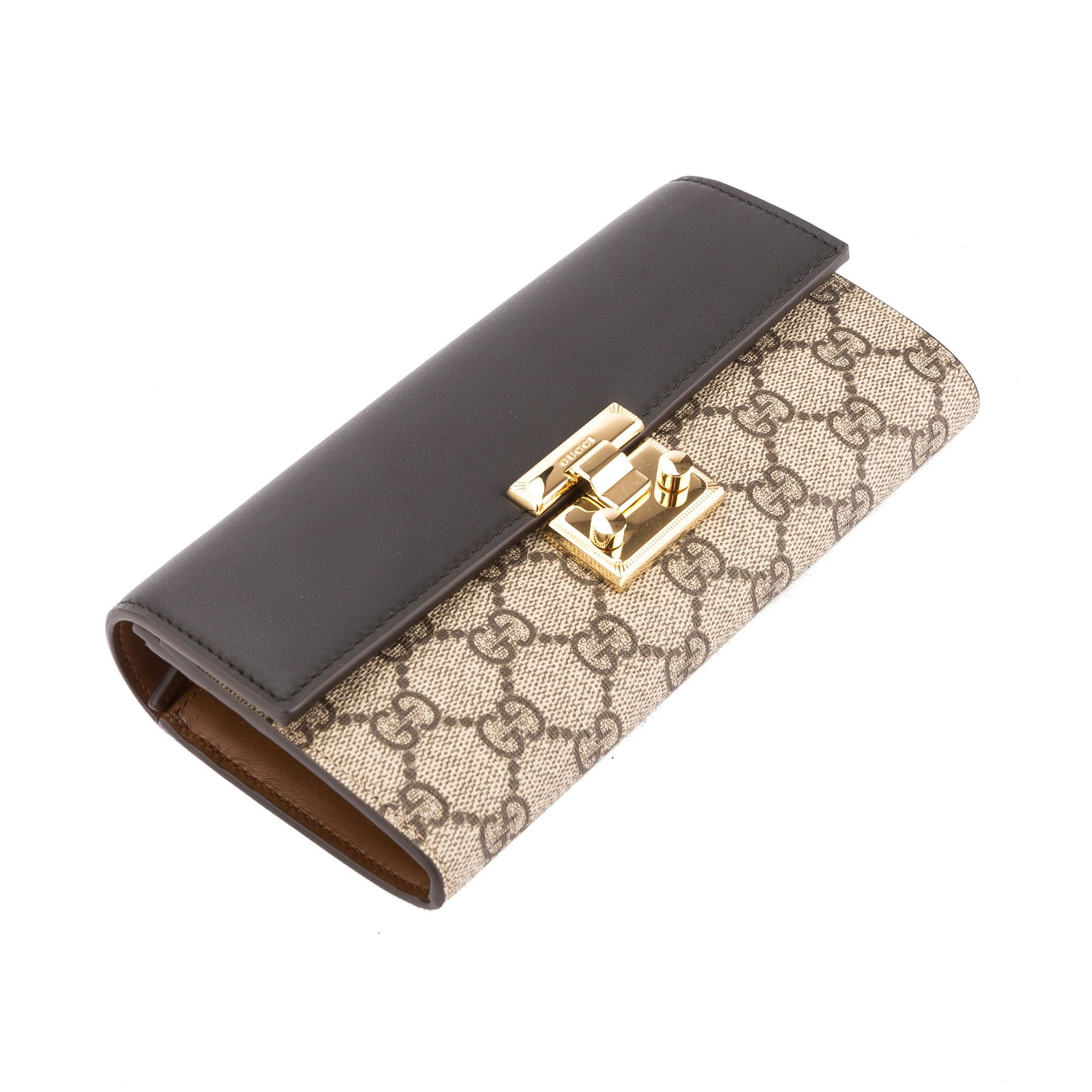 ccdd37cec9a Gucci Black Leather GG Supreme Padlock Continental Wallet (New with Ta -  3452007