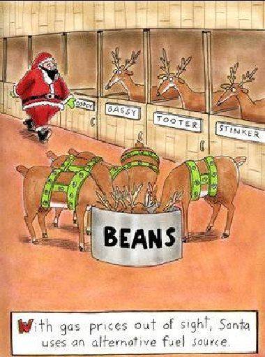 Bean Humor: Alternate Fuel Sources To Power Santau0027s Sleigh? #santaclaus # Reindeer #