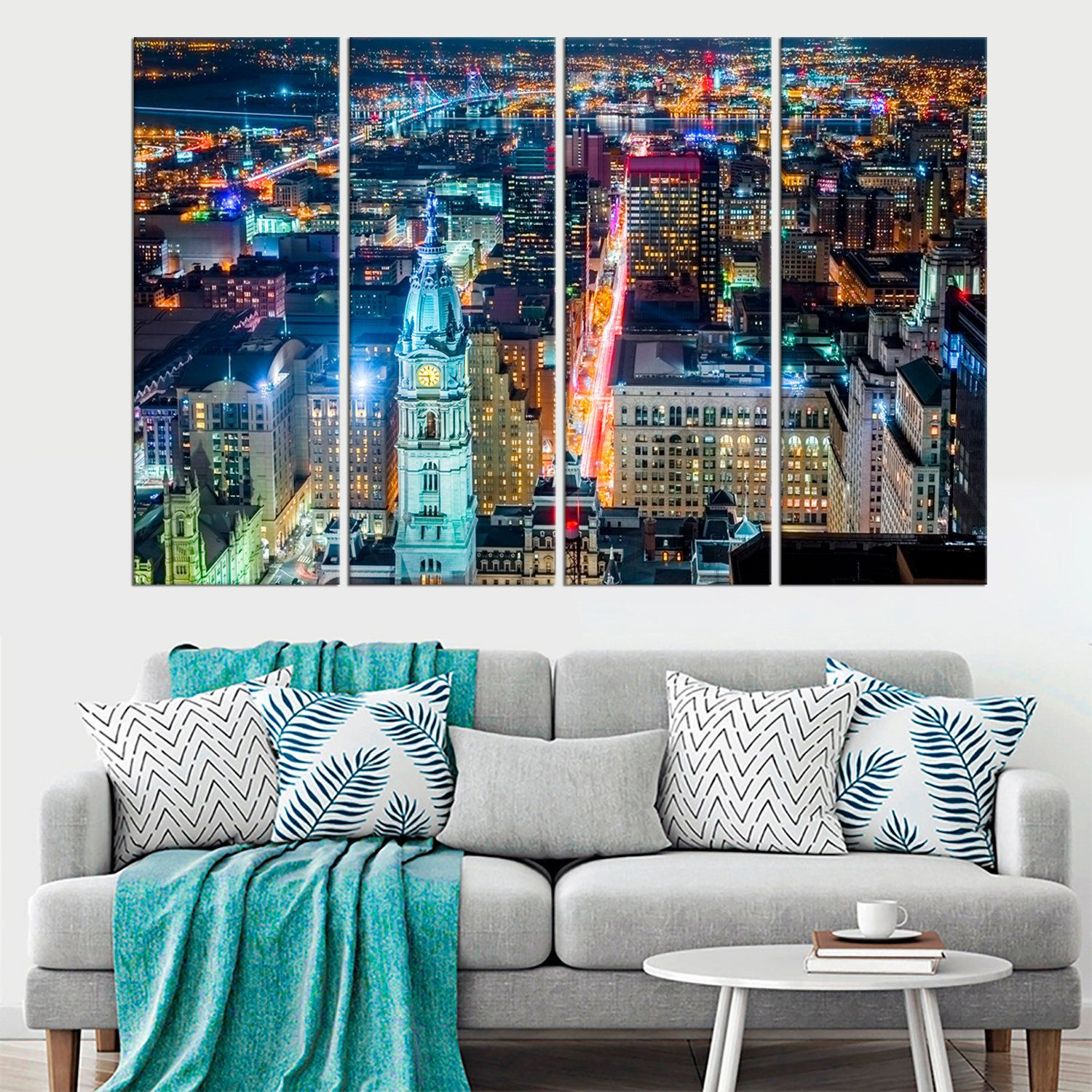 Philadelphia Canvas Wall Art Downtown Pennsylvania Canvas Etsy In 2020 Wall Art Decor Living Room Sunset Wall Art Wall Art Living Room