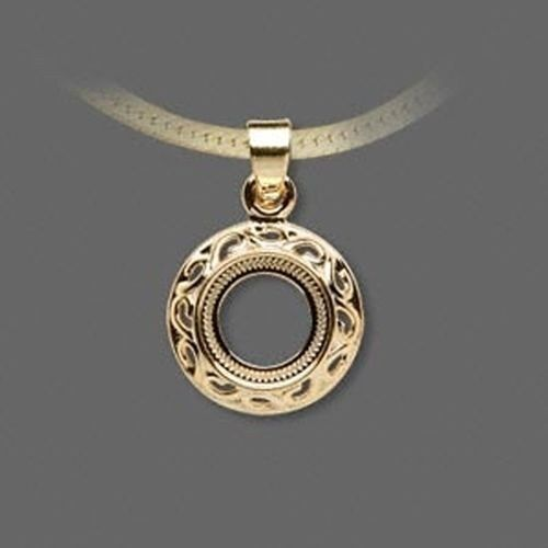 Gold Plated Fancy Swirl Filigree 10mm Round Cabochon Pendant Setting with Bail