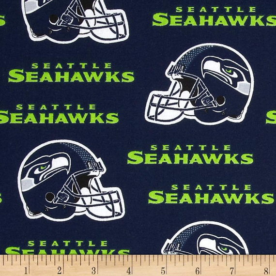 575f21dc5 CHEER On! NFL Seattle Seahawks Team with this Cotton Broadcloth Blue White  Green Indoor Decorative T