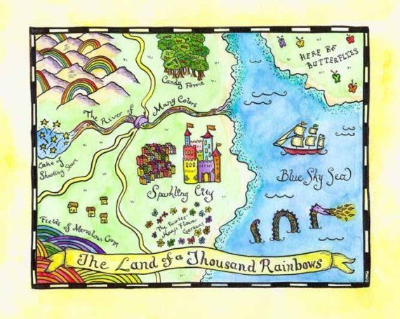 Fairy Tale Map Land Of A Thousand Rainbows 8 X 10 By Paintandink