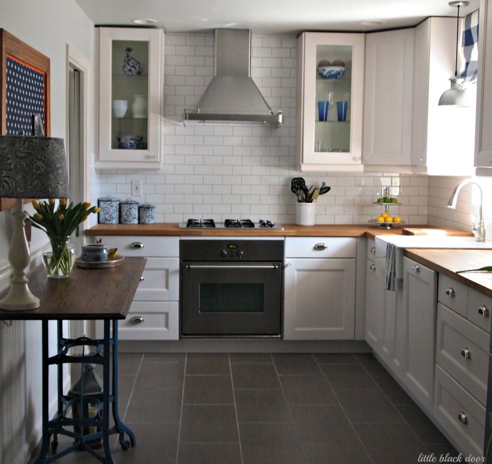 Farmhouse Kitchen Tile Floors Great Before And After Love The Subway Tile Charcoal