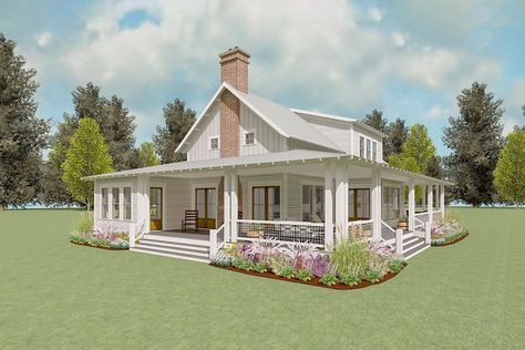 Plan 130015LLS: Exclusive Country House Plan with Two-Story Living Room and Porches Galore