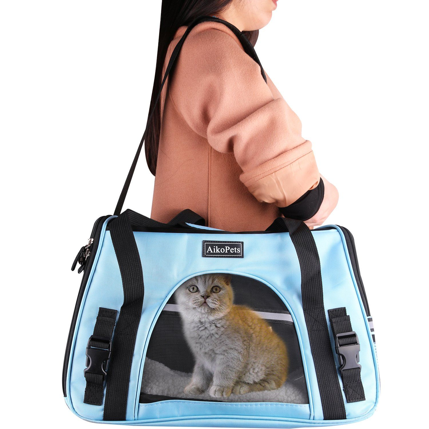 Kitten Carrier Pet Carrier Bag Breathable Softsided Portable Pet Carriers For Small Dogs And Cats Blue Small Sizes 17x Pet Carrier Bag Pet Carriers Carrier Bag