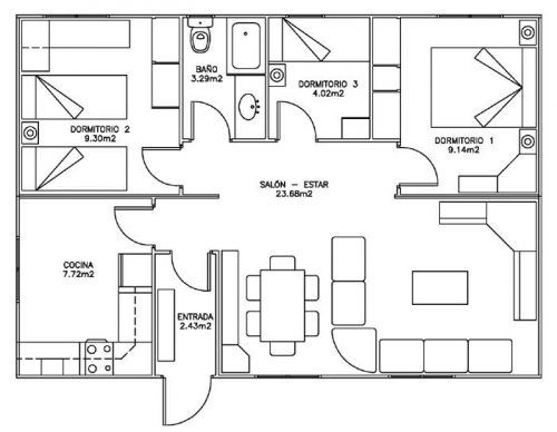 Planos de distribucion de casas de madera 80 metros for Planos de cocina de restaurante con medidas