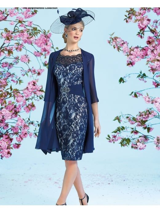 07b01a117dc8bf VENI INFANTINO Ronald Joyce 991220 Lace Dress Matching Chiffon Coat Navy  Blue Chiffon Jacket, Lace