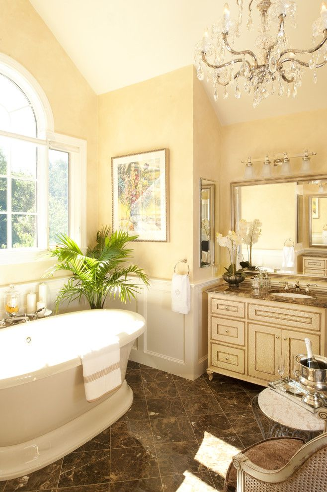 Classic Bathroom Decor With Lovely Chandelier Yellow Bathrooms