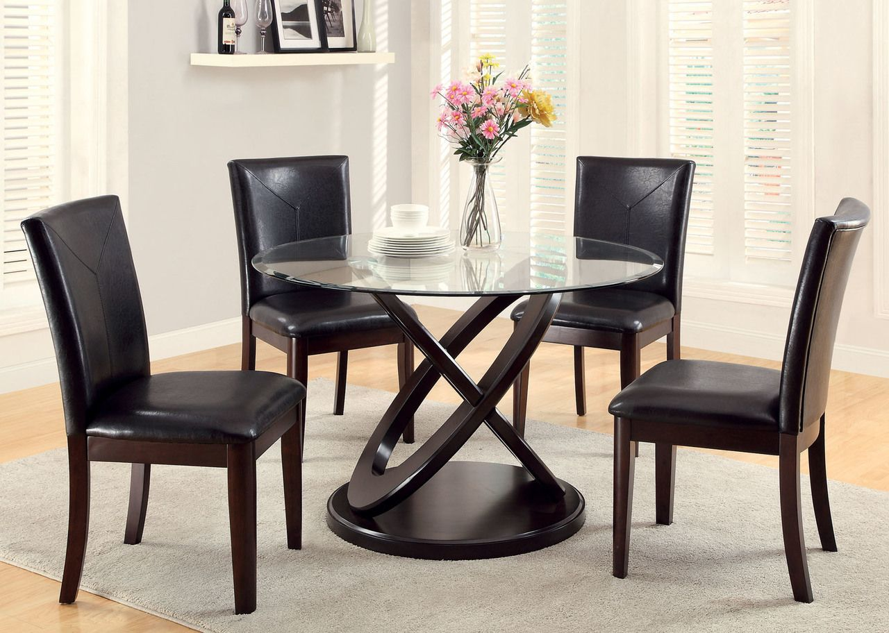 Furniture Of America 5 Pc Antenna Round Dining Table Set Glass Round Dining Table Round Dining Table Sets Glass Dining Table