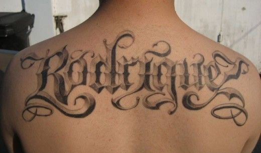Fantastic 3d Script And Lettering Tattoo On Back Tattoo