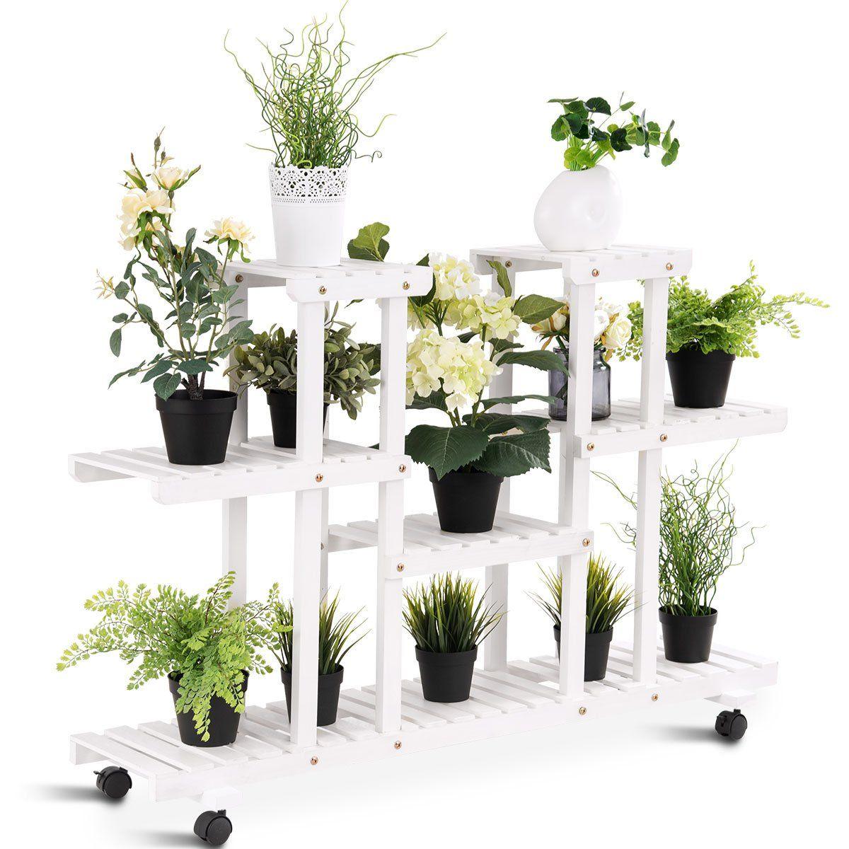 Giantex rolling flower rack wood plant stand on wheels 6