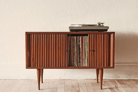 Mid Century Teak Record Cabinet Love Those Spindle Legs Record
