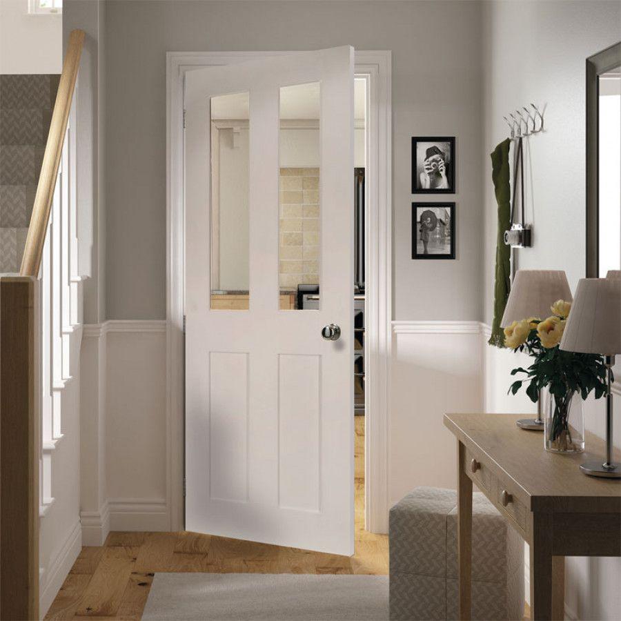 Deanta Eton White Primed Glazed Door 2040x826x40mm Wood White